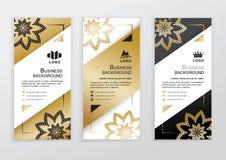 Vertikale Geschäftsgoldschwarz-Weißfahnen Dekorative Blumenelemente auf weißem Hintergrund Stockfotografie
