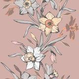 Vertikale nahtlose mit Blumengrenze mit Handgezogenen Blumennarzissen, Narzisse lizenzfreie stockfotografie