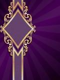 Vertikale rautenförmige purpurrote Fahne mit Goldfil Stockfoto