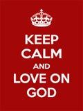 Vertikale rechteckige rot-weiße Motivation die Liebe auf dem Gottplakat basiert im Weinleseretrostil Stockfotografie