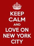 Vertikale rechteckige rot-weiße Motivation die Liebe auf New- York Cityplakat basiert im Weinleseretrostil Lizenzfreie Stockfotografie