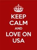 Vertikale rechteckige rot-weiße Motivation die Liebe auf USA-Plakat basiert im Weinleseretrostil Stockfoto
