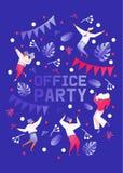 Vertikale Schablone für die Büropartei, -feier oder -jahrestag gezeichnet in flache moderne Art mit klaren Steigungen Konzept lizenzfreie abbildung