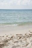 Vertikale Strand-Szene mit klarem blauem karibischem Ozean Stockfotografie