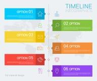 Vertikale Vektorzeitachse-Informationsgraphik mit Linie Ikonen Lizenzfreie Stockbilder