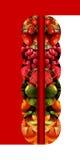 Vertikale widergespiegelte Halbrunde mit Früchten vektor abbildung