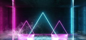 Vertikalen-Laser-Neonrohr Rauch-Dreieck-Lasers zeichnet Leuchtstoff glühendes blaue rosa purpurrote Farben im dunkler Schmutz-ra stock abbildung