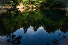 Vertikaler Aufbau der Bäume Bushers und Moutain, die im ruhigen See während des Sonnenuntergangs sich reflektieren stockfoto