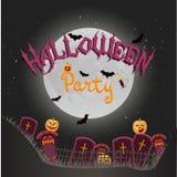 Vertikaler Hintergrund Halloween-Vektors mit Kreuzen, Nacht, Kürbisen, Kerze und Vollmond Flieger- oder Einladungsschablone für g Lizenzfreie Stockfotografie