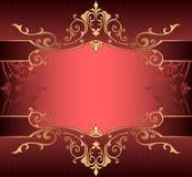 Vertikaler Hintergrund mit Goldorientalischem Gold des mit Filigran geschmückten Rahmengrenzehintergrundes mit Spitzeverzierungen Stockfotos