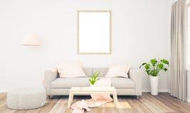 vertikaler Rahmen auf Wohnzimmer stockbild