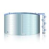 Vertikaler Stahltank mit Reflexion Stockbild