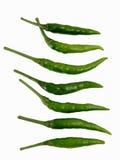Vertikaler thailändischer grüner Paprika für das Küchekochen Stockbilder