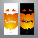 Vertikales abstraktes Design der Schablone zwei der Fahne mit Kürbislächeln und handgeschriebener Beschriftung von Halloween Lizenzfreie Stockbilder