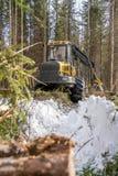 Vertikales Foto der Blockwinde im Winterwald Lizenzfreie Stockfotografie