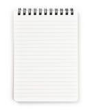 Vertikales gewundenes Notizbuch getrennt auf reinem Weiß. Lizenzfreie Stockfotografie