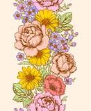Vertikales nahtloses mit Blumenmuster Stockbilder