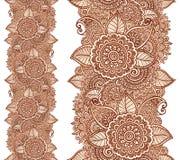 Vertikales nahtloses mit Blumenmuster des indischen Hennastrauchtätowierungsart-Vektors Lizenzfreie Stockfotos