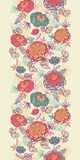 Vertikales nahtloses Muster der Pfingstrosenblumen und -blätter Lizenzfreies Stockfoto