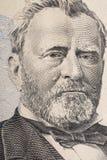 Vertikales Porträt von Ulysses Grant-` s Gesicht auf dem Dollarschein US 50 Niedrige Schärfentiefe Stockbild
