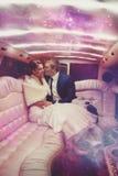 Vertikales Porträt von gerade merried Paaren mit magischen Lichtern Stockbilder
