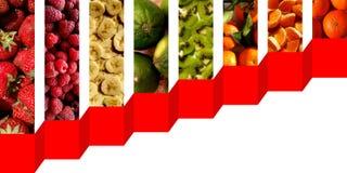 Vertikales Rechteck formt voll von den frischen Früchten Stockbild