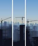 Vertikalt baner av konstruktionsplatsen med kranar och byggnad. vektor illustrationer