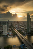 Vertival view of River in Bangkok city Royalty Free Stock Photos