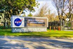 Vertoning bij de ingang aan NASA Ames Research Center wordt gevestigd dat stock afbeelding
