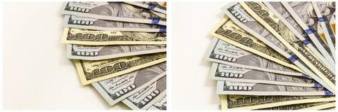 Vertoning van de geld de rekeningen gewaaide collage stock afbeelding