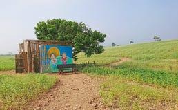 Vertoning van Koreaanse reeksbeschermer: De Eenzame en Grote God of de Kobold bouwde voor toeristenaantrekkelijkheid bij Borinara Royalty-vrije Stock Fotografie