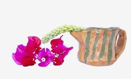 Vertoning van Roze Bloemen met Aardewerkkruik Stock Foto's