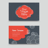 Vertor Visit Card Template Design. Visit Card with hand drawn abstract elements. Hand Drawn Business Card Design Royalty Free Stock Photo
