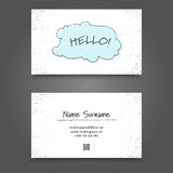 Vertor Visit Card Template Design. Visit Card with handdrawing funny frame. Handdraw Business Card Design Stock Photo