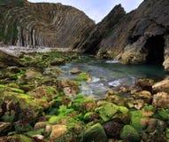 Vertorama da angra de Lulworth - costa de Dorset, Inglaterra Imagens de Stock