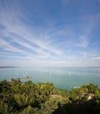 Vertorama of Tihany's port. Royalty Free Stock Photography