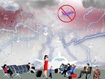 Vertraagde vlucht bij de luchthaven toe te schrijven aan slecht weer royalty-vrije illustratie