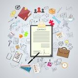 Vertrag melden sich Papierdokument Pen Signature an Stockfotos