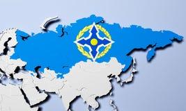 Vertrag-Organisation der kollektiven Sicherheit auf Karte 3D Illustration Lizenzfreie Stockfotos