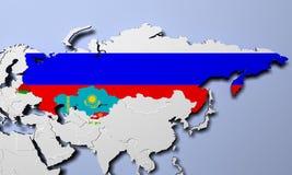 Vertrag-Organisation der kollektiven Sicherheit auf Karte 3D Illustration Stockbilder