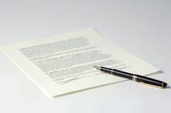 Vertrag/zugelassene Vereinbarung stockfotografie