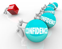 Vertrauen gegen Zweifels-Rennwettbewerbs-gute positive Haltungs-Gewinne vektor abbildung