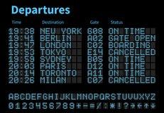 Vertrek en aankomst vectormalplaatje van de luchthaven het digitale raad Luchtvaartlijnscorebord met geleide letters en getallen royalty-vrije illustratie