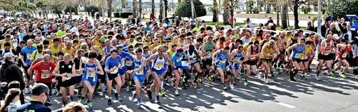 Vertrek voor marathon het rennen stock foto