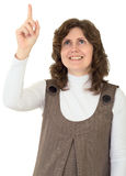 Vertretung der jungen Frau des Fingers zu oben Lizenzfreie Stockfotografie