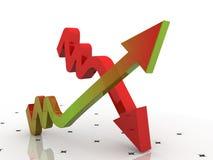 Vertretungsanstieg des Diagramms 3d in den Profiten oder im Einkommen Lizenzfreies Stockbild