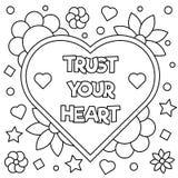 Vertrouw op uw hart Kleurende pagina Vector illustratie Royalty-vrije Stock Afbeelding