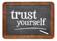 Vertrouwen zelf - bordteken Stock Afbeelding