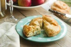 Vertuta、传统罗马尼亚语、摩尔达维亚人或者巴尔干蛋糕用酸奶干酪和莳萝 库存图片