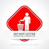 Verunreinigen Sie nicht rotes Zeichen Stockfotografie